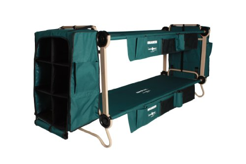 Disc-O-Bed Cam-O-Bunk Cot with 2 Organizers, 2 Cabinets and Leg Extensions, Large