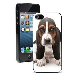 Apple iPhone 5 5S Hard Back Case Cover Color Basset Hound (Black)