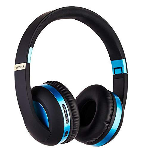 - Wireless Headset with Mic,Foldable Bluetooth Headphone with 3.5mm Audio Jack for PC/iPhone/Android Smartphones Computers(Black+Blue)