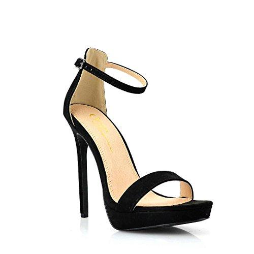 Women's Dress Sandal | Round Open Toe | One Band Thin Ankle Strap | Platform Stiletto Heel Sandals (7, Black)