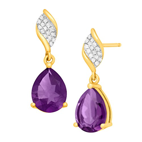 3 1/8 ct Natural Amethyst Drop Earrings with Diamonds in 10K Gold