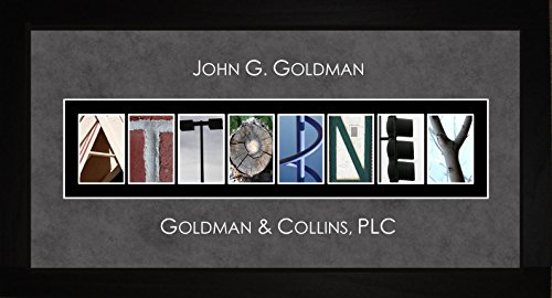 Personalized Art - Attorney Lawyer Alphabet Photography Letter Framed Wall Art Gift 10x20 Hanging Framed Letter