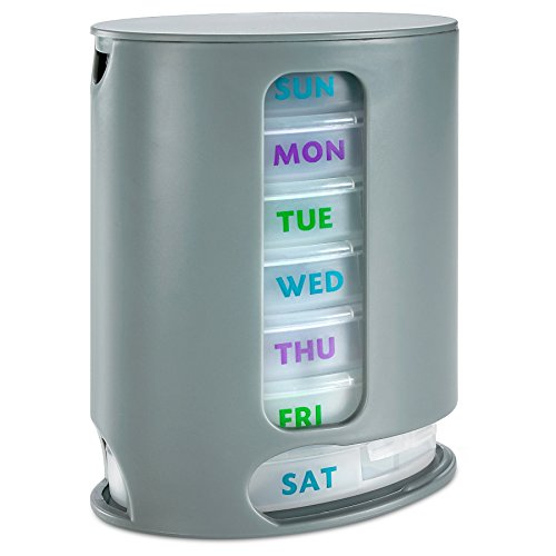 - MEDca Weekly Pill Organizer, 1 Dispenser, 7 Stackable Compartments Four Times-a-Day - Morning, Noon, Evening, and Bedtime, Grey