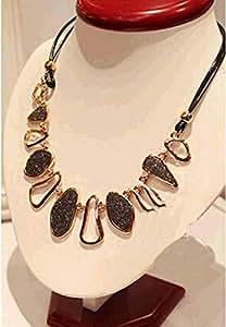 Vintage Crystal Geometry Black Sweater Charm Pendant Necklace