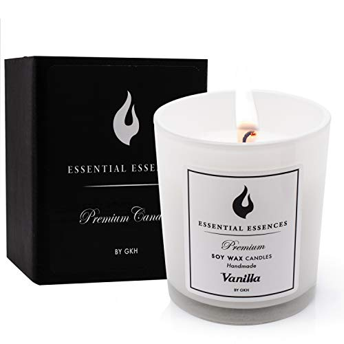 Essential Essences' Handmade Soy Wax Scented Candles, with Essential Oils in Vanilla & Lavender Fragrances, All Natural Aromatherapy, for Bath and Body, Perfect for Men and for Women