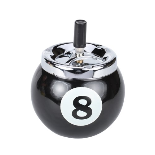 Pool Ball Billiard Ball Push Button Metal Ashtray