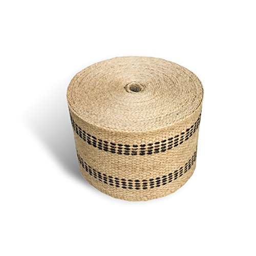 "Upholstery or Craft Jute Webbing, 3.5"" x 10 Yds - Natural with Black Stripes"