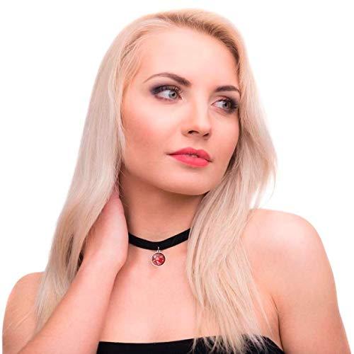 - Haluoo Vintage Black Stretch Velvet Choker Collar with Tiny Red Garnet Glass Coin Pendant for Women Girls Fashion Jewelry (Black)