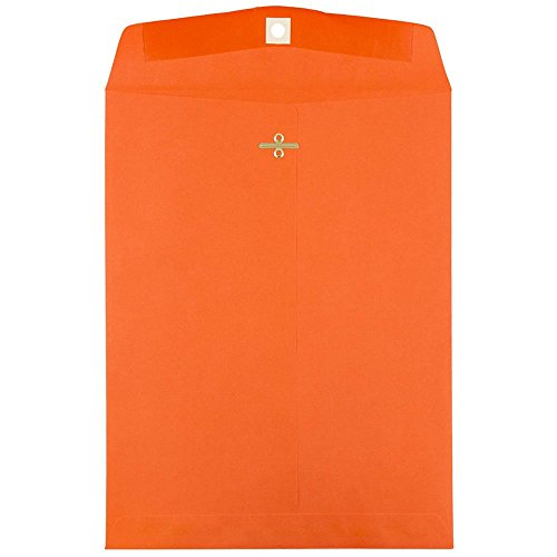 "JAM Paper 10"" x 13"" Open End Catalog Envelope with Clasp Closure - Orange - 10/pack"