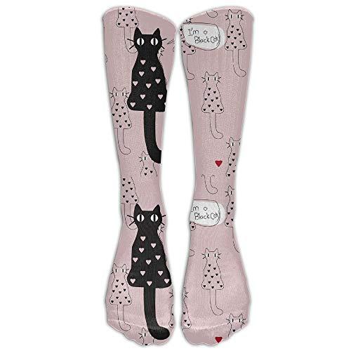 Holuday Womens Mens Funny Like Black Cat Tube Knee High Socks Crazy Dress Stocking For Sports