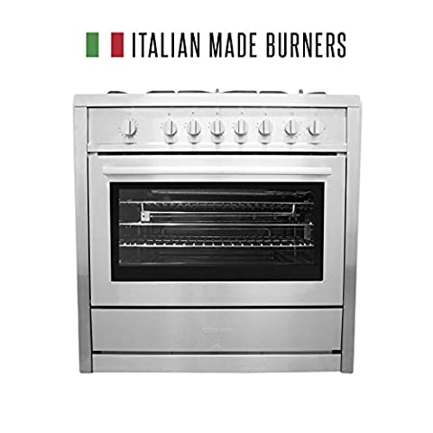 Cosmo COS-965AG 36 in. Propane Freestanding Professional Style Gas Range with 3.8 cu. ft. Oven, 5 Italian Made Burners, in Stainless Steel, Motorized Rotisserie, Includes Liquid Propane Conversion - Gas Oven Broiler