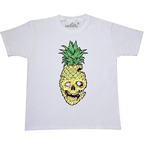 inktastic - Pineapple Zombie Youth T-Shirt Youth Large (14-16) White -