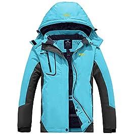 Wantdo Women's Mountain Waterproof Ski Jacket Windproof Rain Jacket Winter Warm Hooded Coat