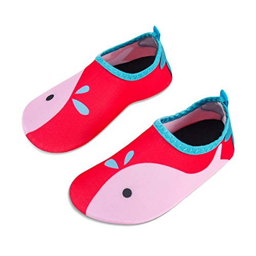 Kids Water Swim Shoes Barefoot Aqua Socks Shoes Quick Dry Non-Slip Baby Boys & Girls (Whale-Pink, 34/35) (Best Looking Athletic Shoes)