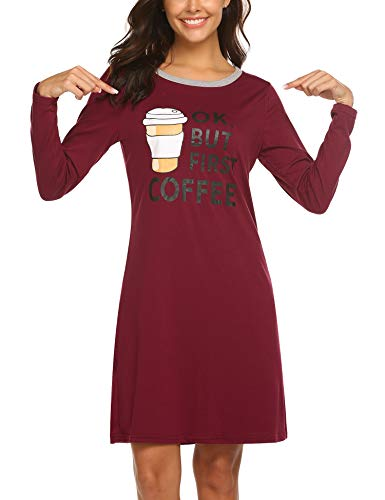 8405867fdf HOTOUCH Women s Night Shirt Cotton Nightgowns Sleep Shirt Scoopneck Long  Sleeve Sleep Dress Nightshirts wine red