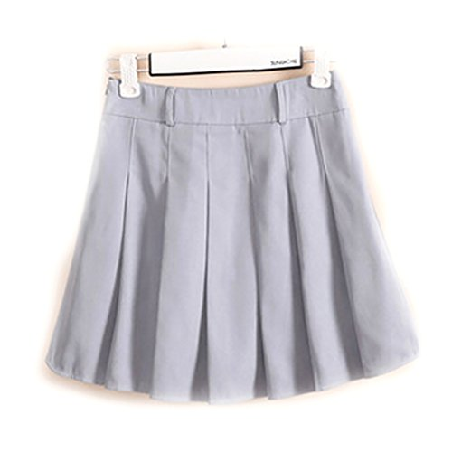 URSFUR School Uniform Dress Women Girls Japan High Waist Cosplay Costume Skirts Light Gray M - 70s School Girl Costume