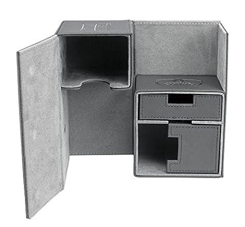 Twin FlipnTray Deck Case 160+ Standard Size XenoSkin Grey Card Game - Double Deck Card Box