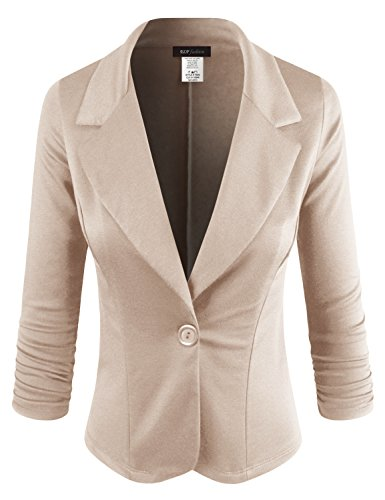 Jacket Fancy Womens (ELF FASHION Women Casual Work Knit Office Blazer Jacket Made in USA (Size S~3XL) Taupe M)