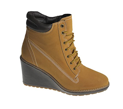 Womens Wedge Heel Boots Ladies Padded Collar Synthetic Suede Ankle Shoes Camel