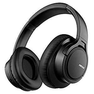 Mpow H7 Bluetooth Headphones Over-Ear, 25h Playtime, CVC 6.0 with Microphone, Hi-Fi Stereo Wireless Headphones, Soft Protein Ear Pads, Wireless and Wired Mode for PC/Online Class/Home office-Black