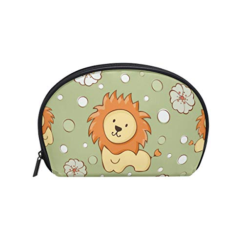 Senya Travel Cosmetic Bag Small Makeup Portable Carry Case Pouch Girls Women Personalized Organizer Tote Bag For Jewelry Toiletries Seamless Pattern Lion Cub -