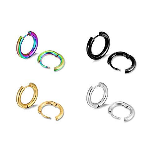 JIUBAN Surgical Stainless Steel Small Hoop Earrings Set 6-40mm Endless Hoop Earrings Hinged Cartilage Piercing Jewelry