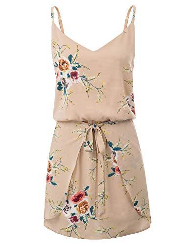 - GRACE KARIN Women Floral Print Dress Spaghetti Strap V Neck Mini Dress Size L,Flesh Pink