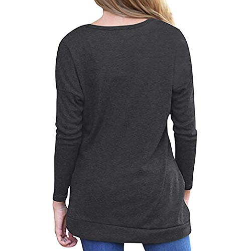 Tops Shirt Casual Promotion Viahwyt Sleeve Solid Loose Color Black Blouse T New Dress Buttons with Crew Sweatshirt Neck Womens Tunic Long vSxa55qnw