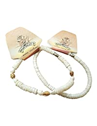 Baja Billy's Ocean Creations Beach Shell Anklet Set - 2 Different Ankle Bracelets for Small Ankle, 9 inches