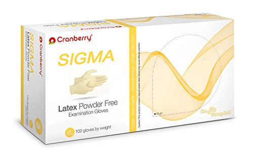 Cranberry USA CR5819case Sigma Powder Free Exam Gloves, X-Large, Latex, Beaded-Cuff, Yellow (Pack of 1000) by Cranberry USA