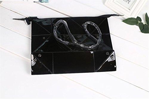 KJHGYBH Folded Women H Bags PU Leather Bag Geometric Shoulder Bag Women Diamond Tote Bags Black