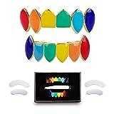 TSANLY 69 Gold Grillz Rainbow Style Like Tekashi69 Set 24K Plated Gold Teeth Grillz for Men + Storage Case + Microfiber Cloth
