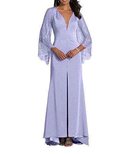 mit 2018 Abendkleider mia Brau La Lilac Abschlussballkleider Brautmutterkleider Neu Festlichkleider Langarm Etuikleider Spitze TfZwU
