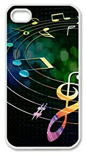 iPhone 4 4S Case, Colorful Music Notes 01 Case for iPhone 4 4S PC Material White