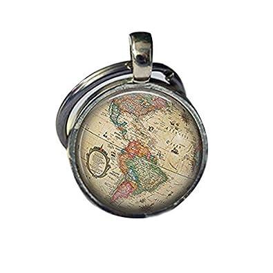 Vintage globo llavero accesorios antiguo mapa del mundo de ...