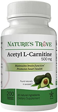 Acetyl L-Carnitine ALCAR 500 mg by Nature s Trove – 200 Vegetarian Capsules
