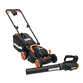 "WORX WG958 14-inch 40V (4.0AH) WG779 Cordless Lawn Mower and WG547.9 Power Share Cordless Turbine Blower Battery and Charger Included 98 Includes (2) 20V 4.0Ah Li-ion batteries for extended run time 14"" Cordless Mower and TURBINE Cordless Blower Mower features patented Intellicut which provides additional torque on demand and the ability to conserve battery when desired"