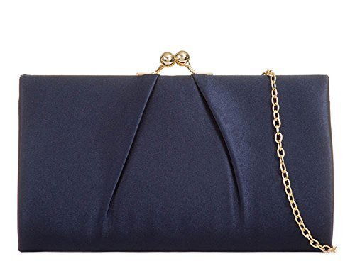 Party KISS Purse Satin Navy Chain Strap Lock Handbag Evening Pleated New Ladies qUwRt88