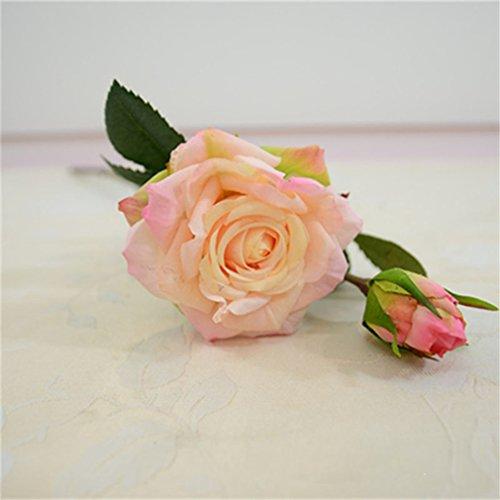 Wedding Decoratio Artificial Flowers Vivid Real Touch Roses Artificial Silk Flower Bride Home Decor 2 Heads/Bouquet Light Pink