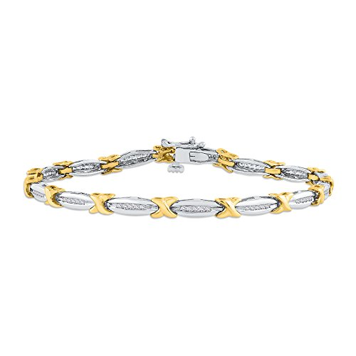 Diamond Tennis Link Bracelet in 10k Two Tone Gold (1/2 cttw) (Color JK, Clarity I1-I2) -