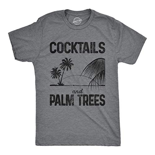 Mens Cocktails and Palm Trees Summer Vacation Cool Party Shirt Fun Drinking Top (Dark Heather Grey) - 5XL (Best Gin Based Cocktails)