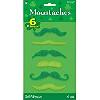 St  Patrick's Day Plush Moustache Costume Party face Accessory Pack (6 Pieces), Green, Assorted Sizes