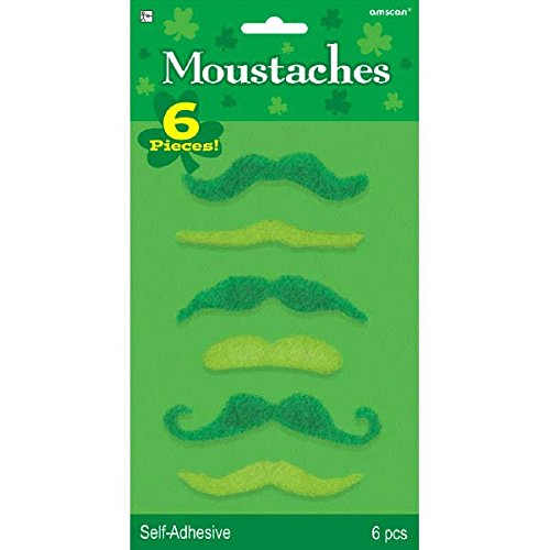 [St  Patrick's Day Plush Moustache Costume Party face Accessory Pack (6 Pieces), Green, Assorted] (Paddys Day Costumes)