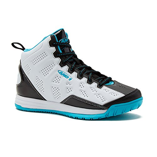 AND1 Kids Show Out Basketball Shoe, 7 M US Big Kid White/Black/Teal