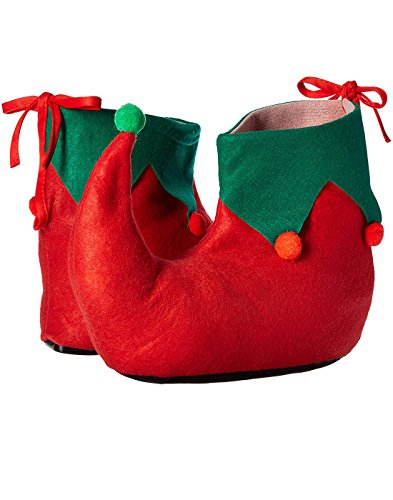 Green Elf Shoes (Rubie's Adult Elf Shoes, Green/Red, One Size)