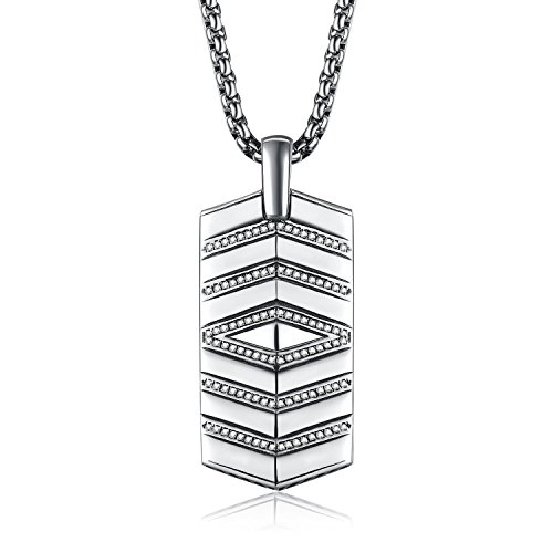 (Caperci Sterling Silver Wave Design Diamond-Accented Dog Tag Pendant Necklace for Men, 28
