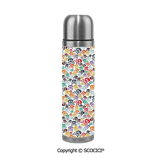 Travel Mug Thermos Food Grade Water Bottle Halloween Theme Colorful Skulls And Crossbones Insulation Cup Leak Proof No Spill Lid Thermoses 500 ML]()