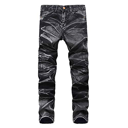 iZHH Mens Vintage Jeans Frayed Trousers Hole Denim Folds Wash Work Basic Pants(Black,40) by iZHH