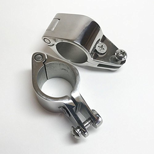 King Marine 2 Piece Bimini Top Locking Hinged Rail Jaw Clamp Stainless Steel Fitting 1 1/4