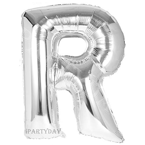 Letter Balloons, 40 inch Giant Silver Letter Balloon, Premium Quality Birthday Party Decorations Jumbo Helium Foil Mylar Balloons (Silver Letter R) -
